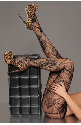 Black Sheer Rose Pattern Fishnet Pantyhose