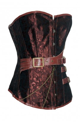 Brown Brocade Steampunk Boned Corset with Leather Strap