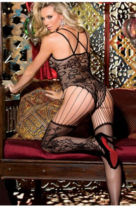 Bodystocking FLORAL VINE SHEER LACE STRING