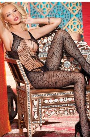 Bodystocking BLACK SPIDER WEB LACE STRAPPY
