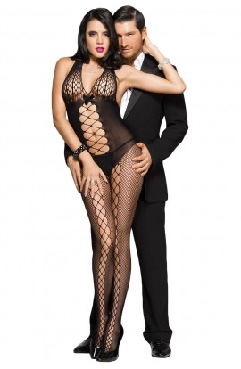 Bodystocking BLACK HONEYCOMB ACCENT DARING SHEER