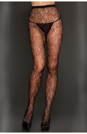 Pančušky Black Gardenia Print Lace Pantyhose