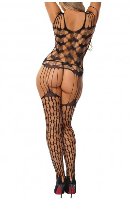 Bodystocking Shredded Shoulder Heart Pattern Hollow-out