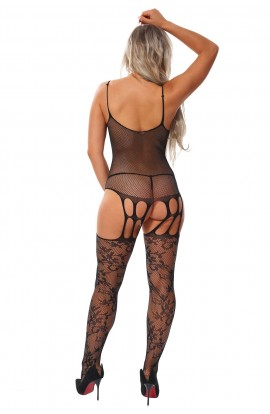 Bodystocking Black Sheer Rhinestone Decor Floral Motif