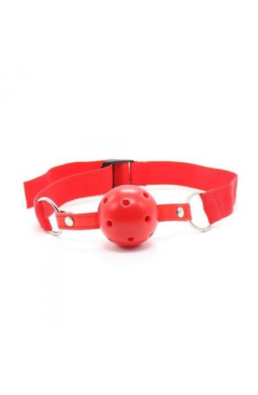 Náustok BREATH HOLE BALL GAG RED