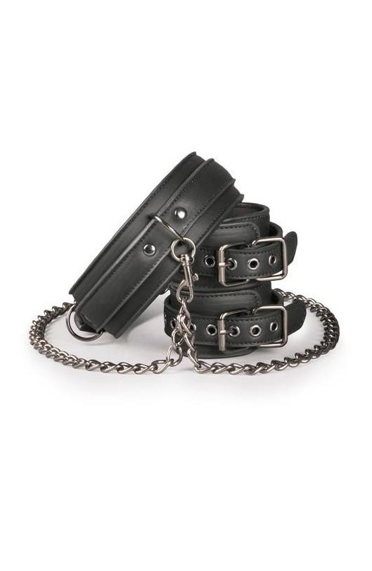 Kožený obojok s putami na ruky Leather Collar With Handcuffs